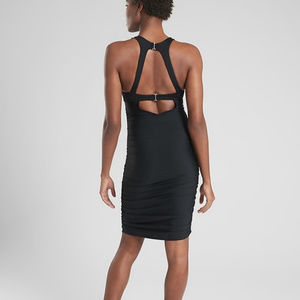 NWT Athleta High Neck Ruched Swim Dress Black 36